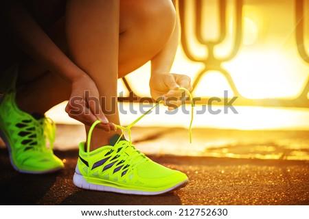 Egészséges életmód futó futócipők kész verseny fut Stock fotó © Freedomz