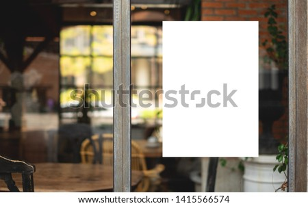 Mock up blank menu frame on table in coffee shop stand for your  Stock photo © Freedomz
