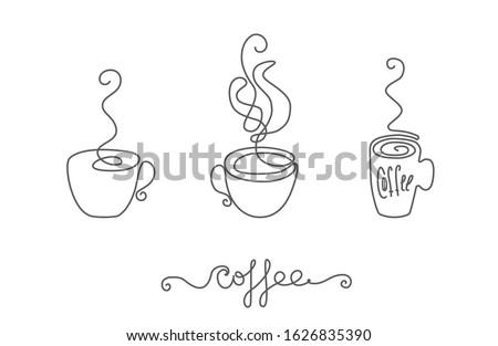 Tasse Kaffee line Kunst Hand Zeichnung Stock foto © ESSL