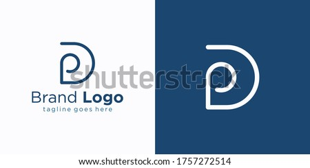 Linear geometric Letter P, Simple Logo Design, Blue graphic element for typography style, minimalist Stock photo © kyryloff