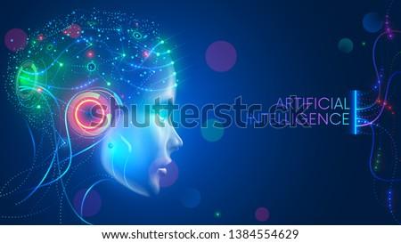 Foto stock: Azul · futurista · inteligência · artificial · cara · projeto · negócio