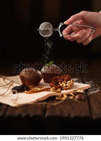 çikolata karanlık şeker toz nane Stok fotoğraf © marylooo