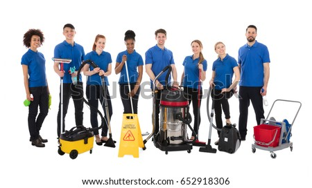 Happy Group Of Janitor Standing With Cleaning Equipment Stock photo © AndreyPopov