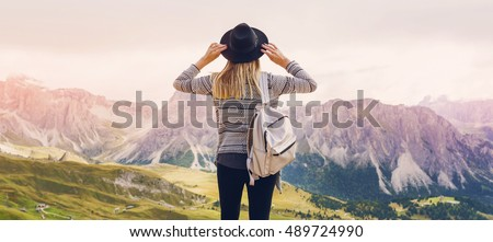 Young woman hiker, tourist on the background of Amazing Pongour Waterfall is famous and most beautif Stock photo © galitskaya