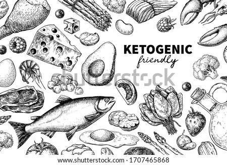 Vector hand drawn illustration for a banner Ketogenic diet food. Stock photo © Margolana