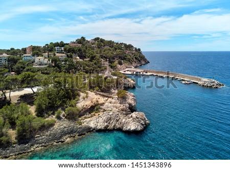 Aerial photo view Santa Ponsa rocky coastline turquoise Mediterr Stock photo © amok