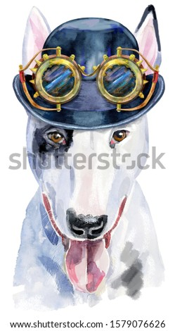 Watercolor portrait of bull terrier with hat bowler and steampunk glasses Stock photo © Natalia_1947