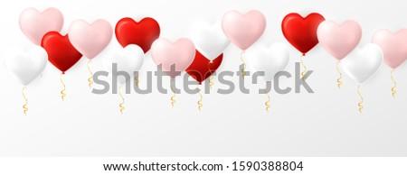 Foto stock: Rosa · vermelho · branco · hélio · balão · coração