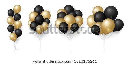 Flying bunch of golden balloon with shadow. Shine helium balloon for wedding, Birthday, parties. Fes Stock photo © olehsvetiukha