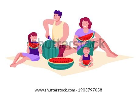 Famille loisirs manger père mère fille Photo stock © vkstudio