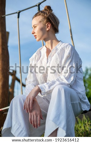 Woman on a yacht in sports tight clothes Stock photo © ElenaBatkova