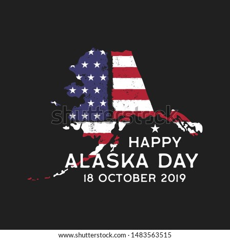 Happy Alaska Day graphic for T-Shirt or other prints. Retro US Flag state logo emblem or poster. Vin Stock photo © JeksonGraphics