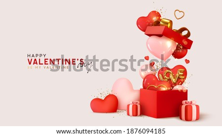 Valentines Day banner. Background design of realistic gifts box with heart shaped, confetti and cand Stock photo © ikopylov