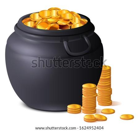 Big black pot full of gold coins. Treasure luck St. Patrick's Day Stock photo © orensila