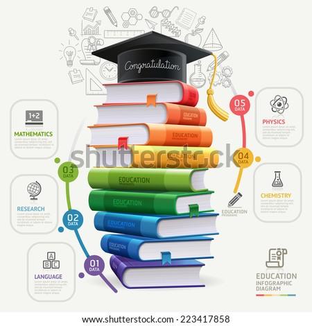 De volta à escola teia bandeira graduação seis livros Foto stock © ikopylov