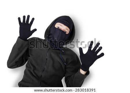Terörist gangster siyah ceket eldiven Stok fotoğraf © pressmaster