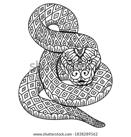Zentangle snake with mandala. Hand drawn decorative vector illustration for coloring Stock photo © Natalia_1947