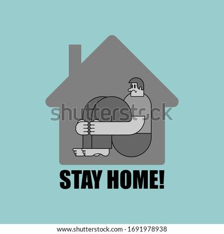 Blijven home man binnenkant huis coronavirus Stockfoto © popaukropa