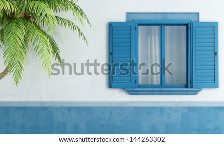 Vintage blue window shutter on the old house Stock photo © boggy