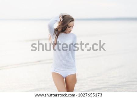愛らしい 小さな 女性 モデル 白 セーター ストックフォト © vkstudio