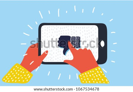 Hand holds the smartphone with like and dislike buttons under the photo on the screen. Flat vector m Stock photo © karetniy