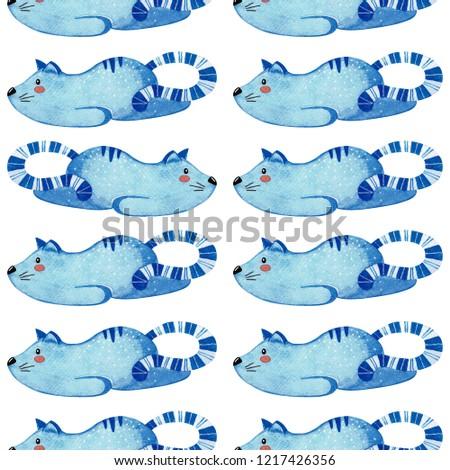 Végtelen minta macska kék lusta állat vízfesték Stock fotó © Arkadivna