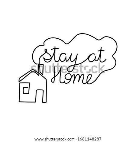 Keep calm lives message. Continuous line lettering drawing. Covid-19 Coronavirus concept. Vector ill Stock photo © ESSL