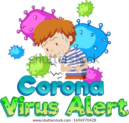 Font design for word coronavirus alert with sick boy and virus Stock photo © bluering