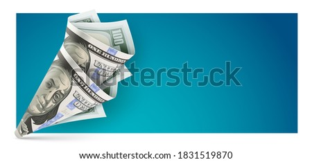 Banner with twisted bag origami made of american dollar currency banknote Stock photo © LoopAll