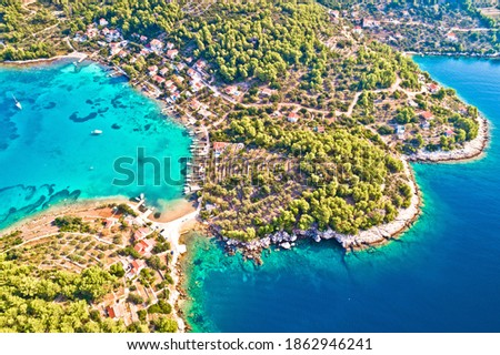 Aerial view of Gradina bay sailing destination on island Korcula Stock photo © xbrchx