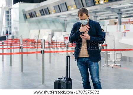 Empresario aeropuerto problemas respiración cuadro Foto stock © vkstudio