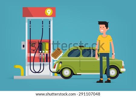 Gázolaj pumpa retro terv üzemanyag vektor Stock fotó © designer_things