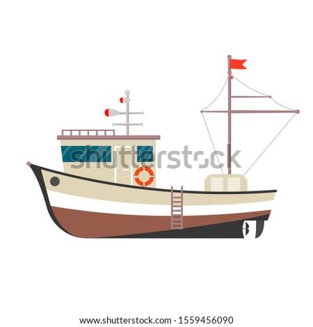 Fishing boat side view. Commercial fishing trawler for industrial seafood production. Marine ship, s Stock photo © designer_things
