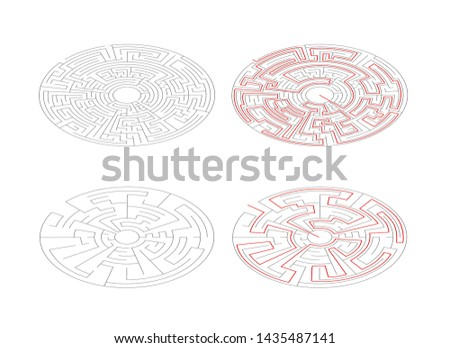 Two round mazes of medium complexity in isometric view on white and solution with red paths Stock photo © evgeny89