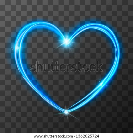 Neon blurry love symbol, blue magic light trail effect at motion. Luminous rays in heart shape on tr Stock photo © evgeny89