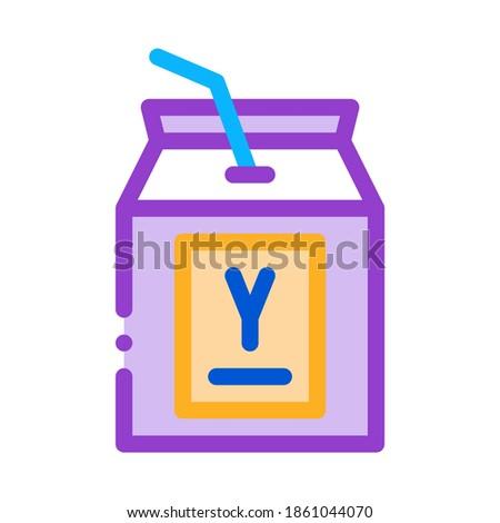 Iszik joghurt szalmaszál ikon vektor skicc Stock fotó © pikepicture