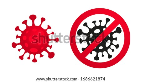 Stop sign with crossed out virus, stop spreading dangerous pandemic, coronavirus, covid19, poster Stock photo © robuart