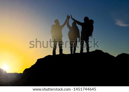 ハイタッチ 日の出 旅行 観光 ハイキング ストックフォト © dolgachov