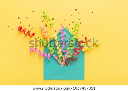 Colorido confeti amarillo mesa superior vista Foto stock © dashapetrenko