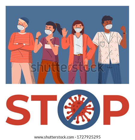 Group of women protesting against virus, stop crossed out sign, concept of spreading coronavirus Stock photo © robuart
