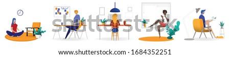 Szabadúszó karakter dolgozik otthon otthoni munka foglalkoztatott Stock fotó © trendsetterimages