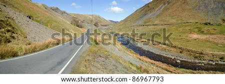 Narrow road through Cwmystwyth hills panorama, Ceredigion Wales UK. Stock photo © latent