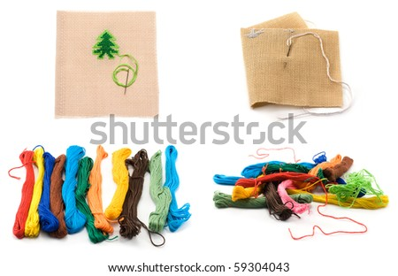 Collage colour threads and bit fabrics with embroidery in the ma Stock photo © RuslanOmega