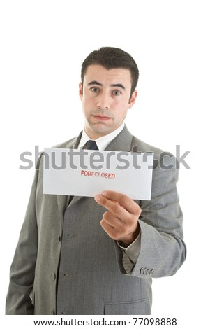 Unhappy Hispanic Man Suit Holding Foreclosure Notice White Backg Stock photo © Qingwa