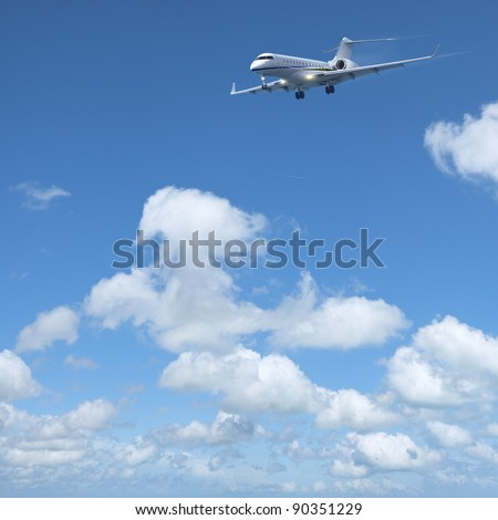 luxury private jet is maneuvering for landing in a clear blue sk stock photo © moses