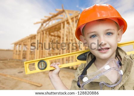 Children pretending to be construction workers standing around a blank sign Stock photo © photography33