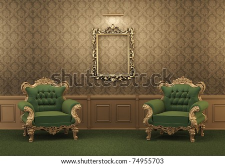 armchairs and empty golden frame on a wall royal apartment lux stock photo © victoria_andreas