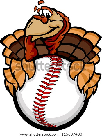 Baseball Or Softball Happy Thanksgiving Holiday Turkey Cartoon V Foto stock © ChromaCo
