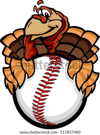 Baseball or Softball Happy Thanksgiving Holiday Turkey Cartoon V stock photo © chromaco