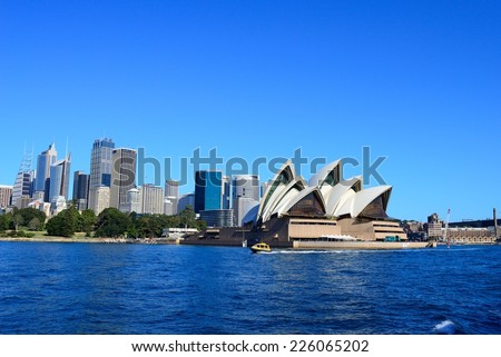 A Skyline View of Sydney Opera House and Harbour Bridge at dawn Stock photo © SophieJames